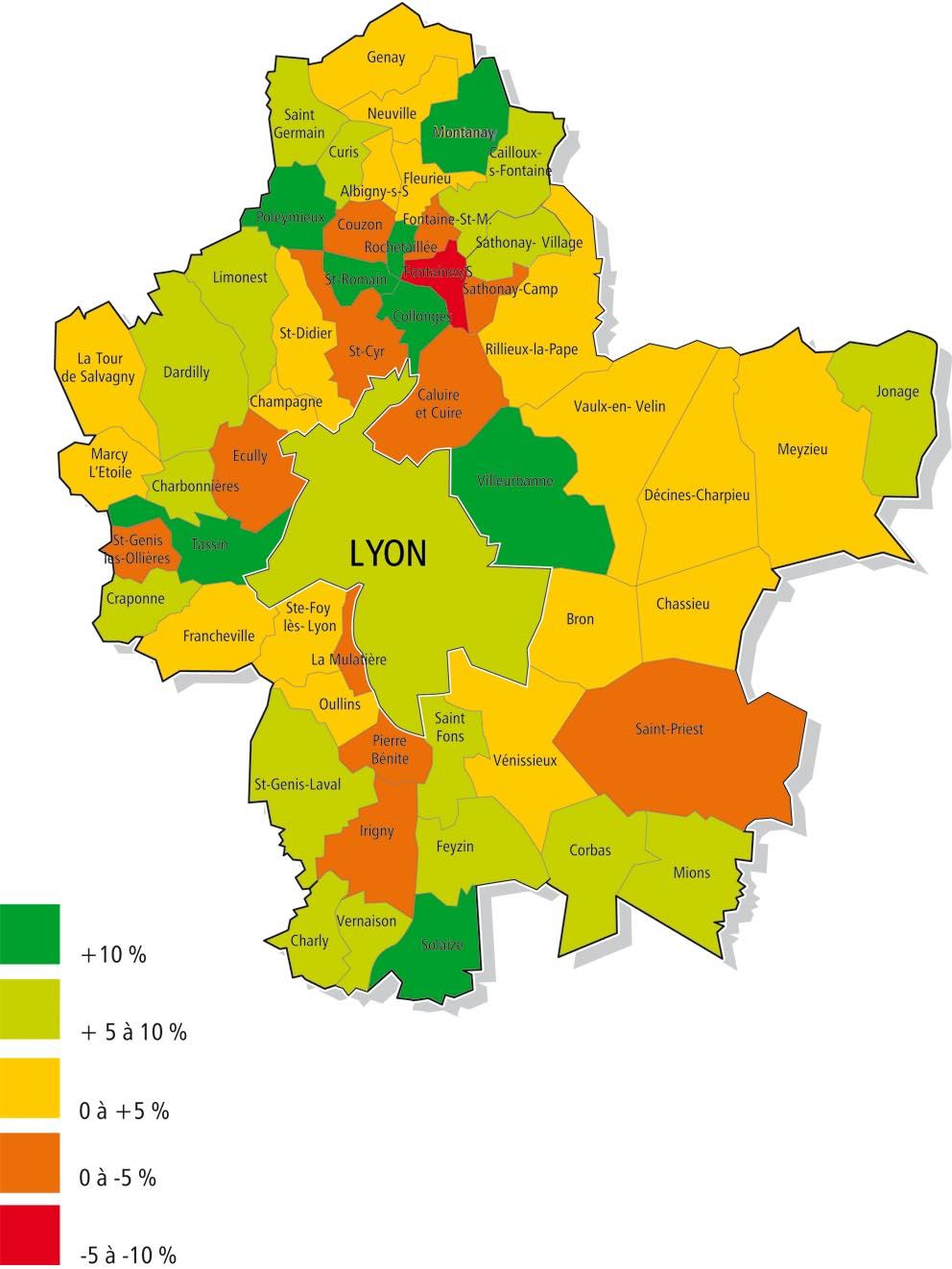 carte lyon et alentours Grand Lyon : ces villes qui attirent de nouveaux habitants |