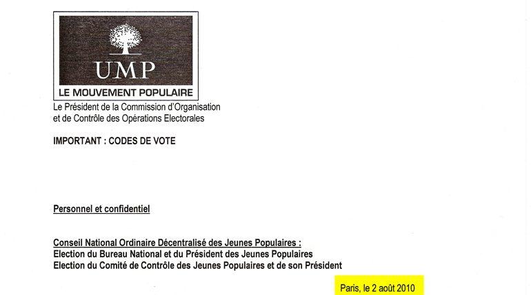 extrait du document UMP contenant les codes de vote électronique