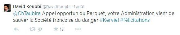 Tweet de David Koubbi adressé à Christiane Taubira sur le dossier Kerviel