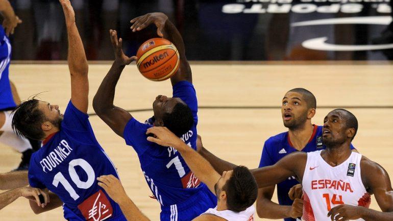 Basket: l'équipe de France face à l'équipe d'Espagne