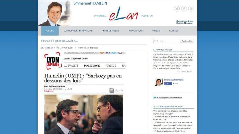 Capture d'écran du site d'Elan