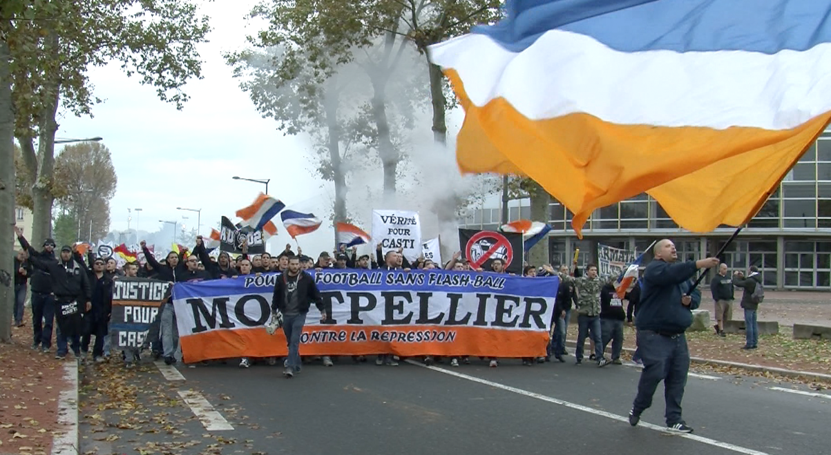 ultras manif lyon supporters montpellier ()