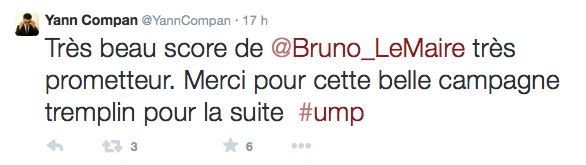 Tweet Yann Compan Présidence UMP 2014