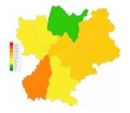 carte d'épidémie de la grippe en Rhône-Alpes
