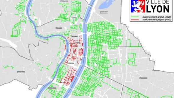 Carte du stationnement payant et gratuit à Lyon en août 2015