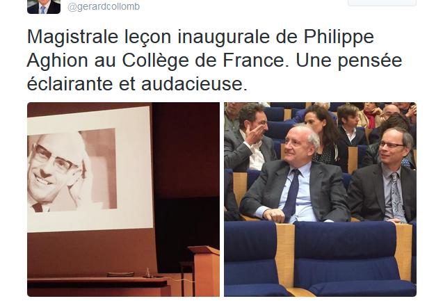 Tweet Gérard Collomb Philippe Aghion