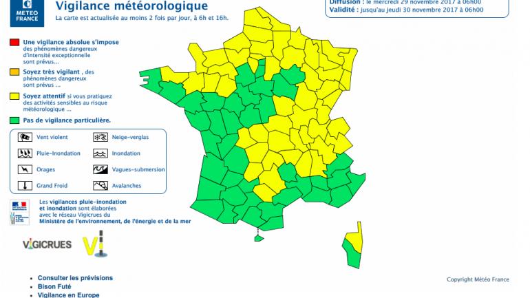 Vigilance jaune Meteo France 28 novembre 2017