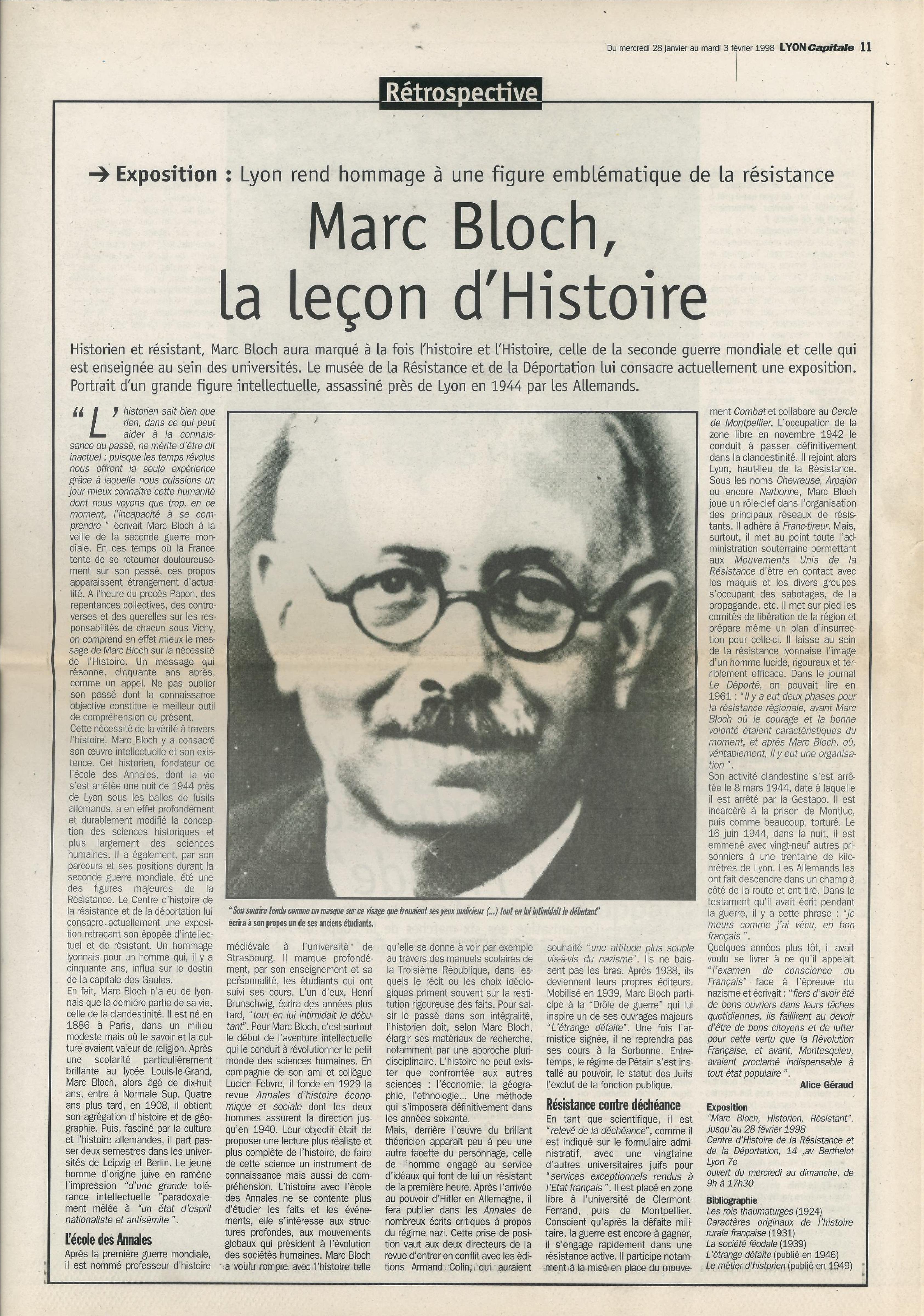 Il y a 20 ans : Marc Bloch, la leçon d'Histoire