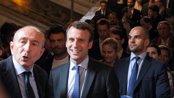 Emmanuel Macron à l'hôtel de ville de Lyon avec Gérard Collomb, le 2juin 2016 © Tim Douet