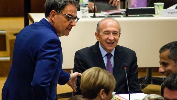 David Kimelfeld et Gérard Collomb au conseil métropolitain, le 10 juillet 2017, jour de l'élection du premier © Tim Douet