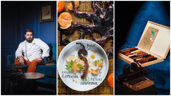 Au restaurant L'Etabli, c'est Louis-Guillaume Fargeton qui cuisine, mais le client choisit son couteau © Tim Douet / DR