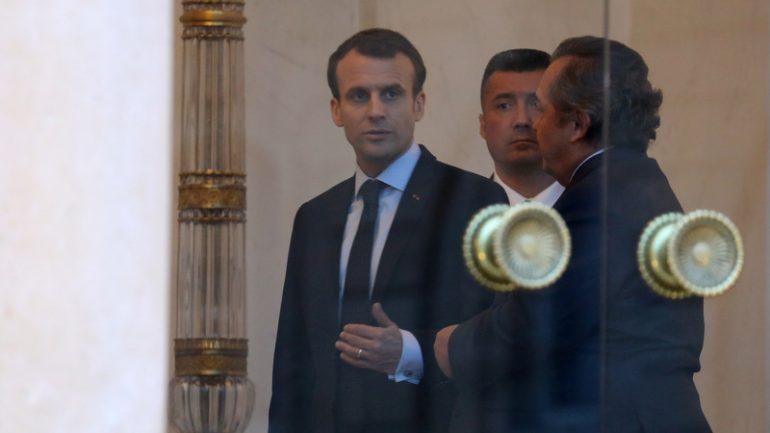 Le patron de GLEvents, Olivier Ginon, à l'Elysée avec Emmanuel Macron, le 26mars 2018 © Ludovic Marin / AFP
