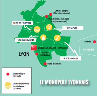 Carte des implantations de GL Events à Lyon © Valentin Girardon pour Lyon Capitale