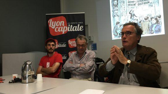 Mathieu Bertrand, Jean-Claude Chuzeville et Bruno Benoît lors de la conférence (© Raphaël Ruffier)