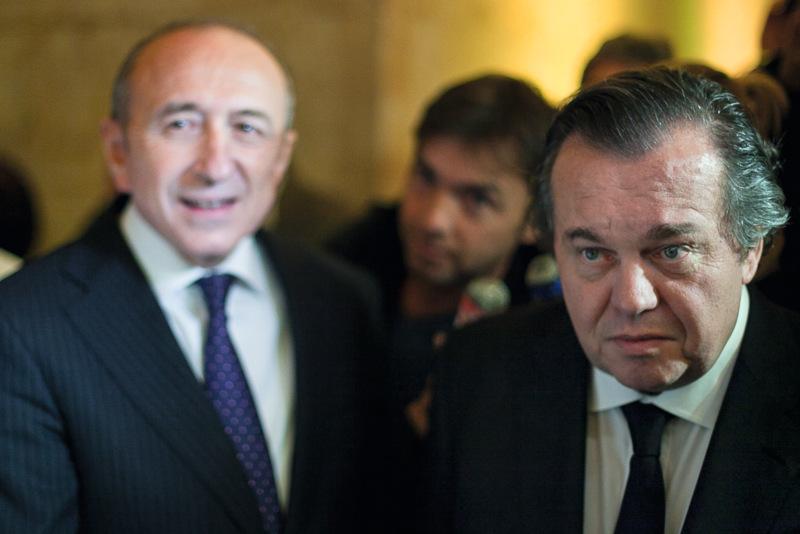 Olivier Ginon avec le maire de Lyon, Gérard Collomb, en 2013 © Tim Douet
