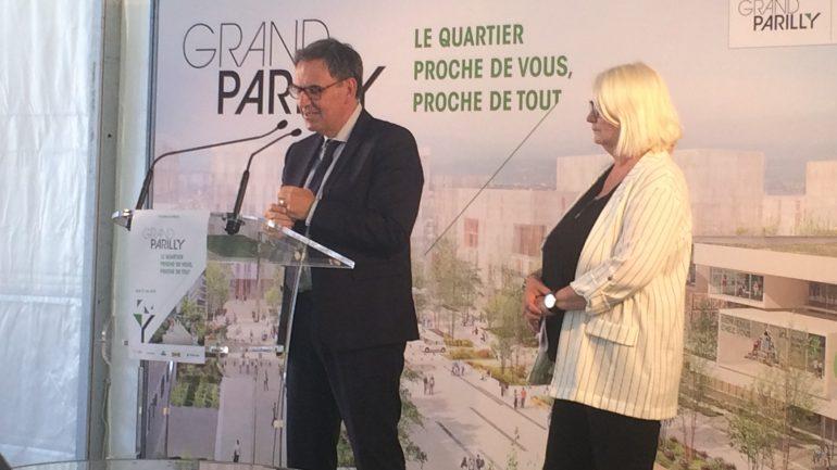 David Kimelfeld et Michèle Picard lord de la conférence de presse pour le Grand Parilly ( © Léa Dubuc)