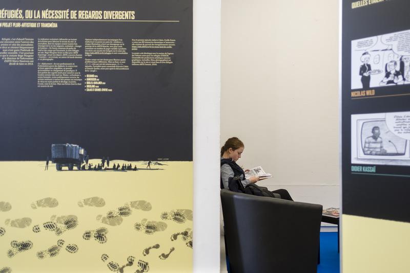 """Vue de l'exposition """"Réfugiés"""" – Lyon BD 2018 © Tim Douet"""