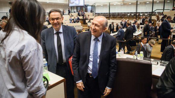 David Kimelfeld et Gérard Collomb, au conseil métropolitain, en 2017 © Tim Douet