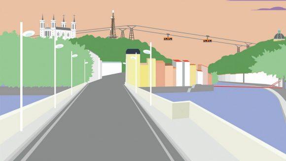 Prospective : dessin d'un téléphérique à Lyon © Valentin Girardon