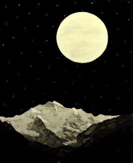 Jean-Luc Blanchet - Magie (Ombre et Lumière) 2018 (Pleine Lune) - [effacement]. Mix Médias sur toile - 61x50cm
