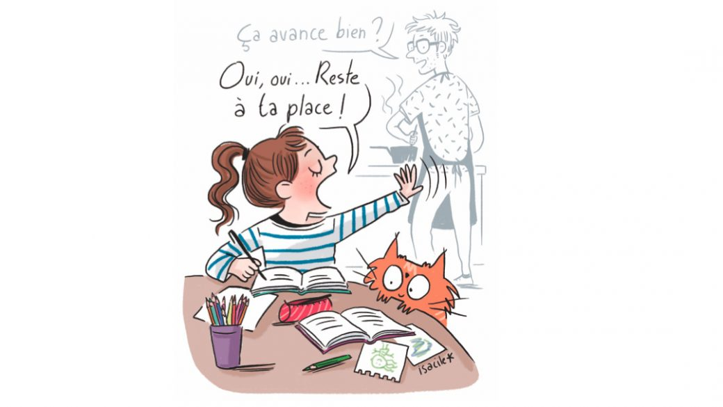 Dessin sur le thème des devoirs à la maison © Isacile