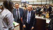 Gérard Collomb et David Kimelfeld au conseil métropolitain, en mai 2017 © Tim Douet