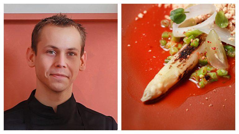"""Nicolas Seibold, le chef de la Mutinerie, et ses asperges snackées au barbecue à la """"neige de foie gras"""" © Tim Douet (montage LC)"""