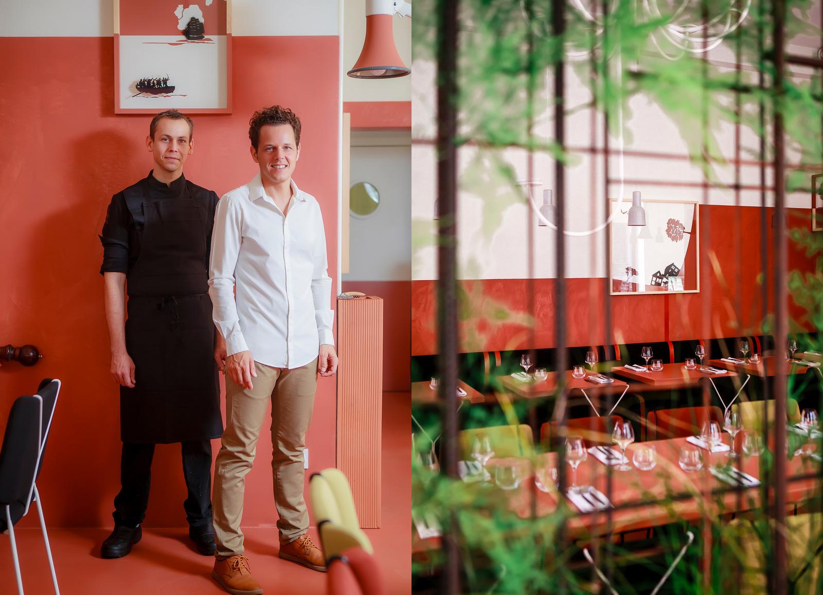 Nicolas Seibold (le chef) et Thomas Brignard, dans leur restaurant, La Mutinerie (Lyon6e) © Tim Douet (montage LC)