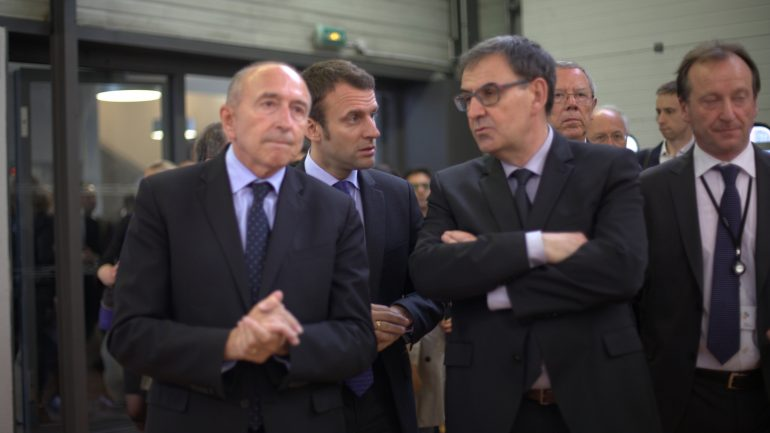 Gérard Collomb, David Kimelfeld et Emmanuel Macron © Tim Douet