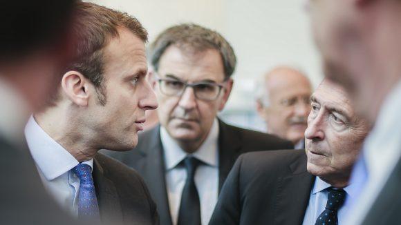 Emmanuel Macron et Gérard Collomb, à Lyon, en 2016 – à l'arrière-plan, David Kimelfeld © Tim Douet