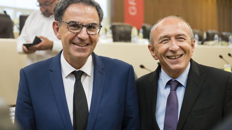 Gérard Collomb et David Kimelfeld au conseil de la métropole, le 10juillet 2017 © Tim Douet