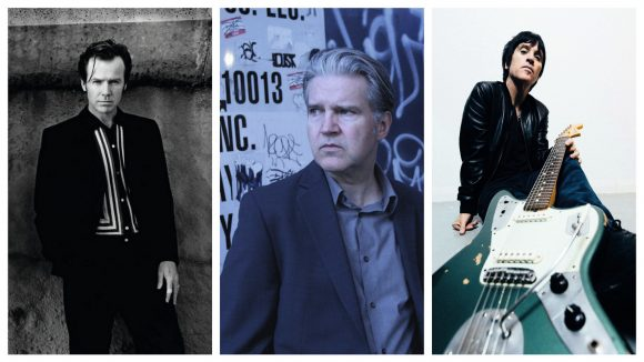 Peter Milton Walsh (The Apartments), Lloyd Cole et Johnny Marr © DR / Kim Frank / Niall Lea (montage LC)