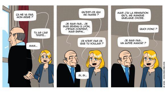 Extrait d'un des strips de décembre – Lyon Capitale n°783 © Jibé