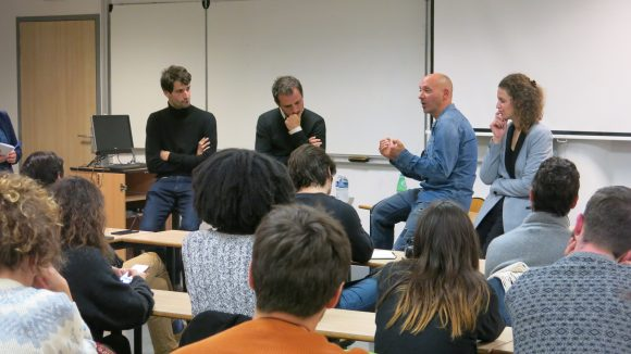 Mathias Destal, Jean-Pierre Canet, Frédéric Champly et Daphné Gastaldi lors de la présentation de Disclose à Sciences Po Lyon, le 20novembre 2018 © M.Régis