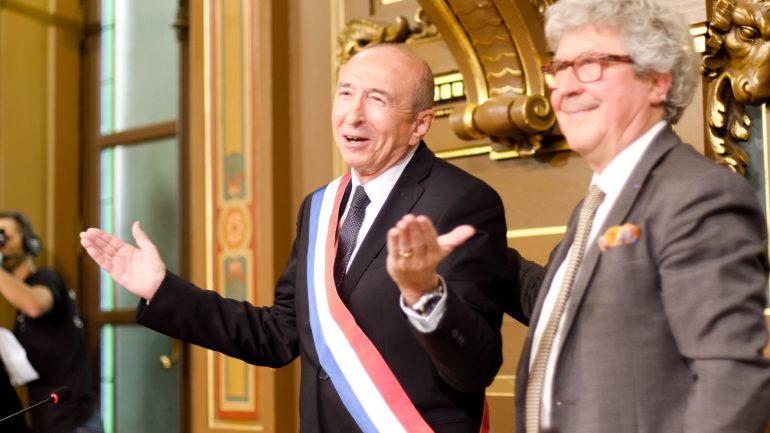 Gérard Collomb juste après sa réélection comme maire de Lyon, le 5novembre 2018 © Tim Douet