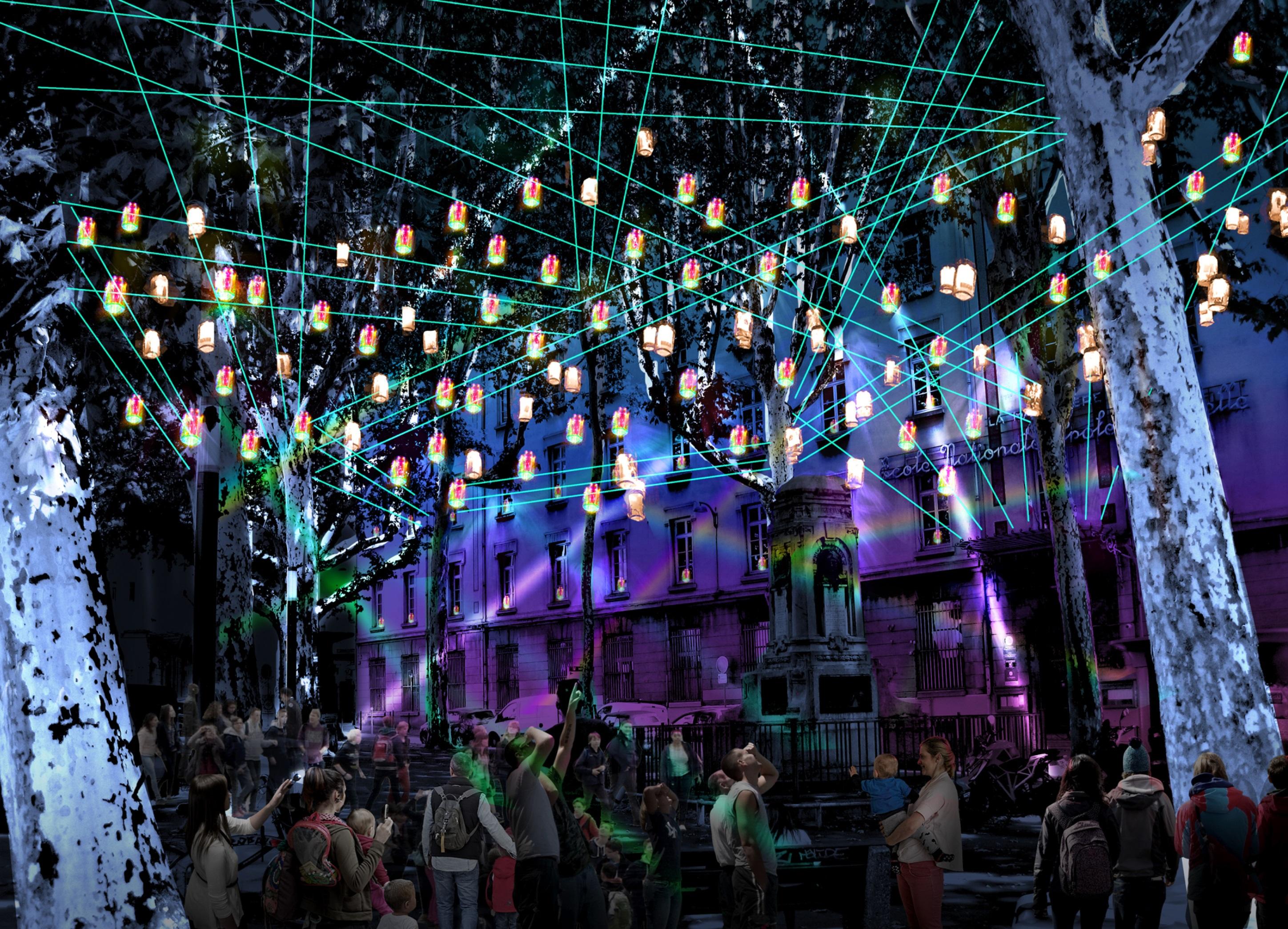 Fête des lumières 2018 - Lumières en soi(e), place Gabriel-Rambaud © Creatmosphere