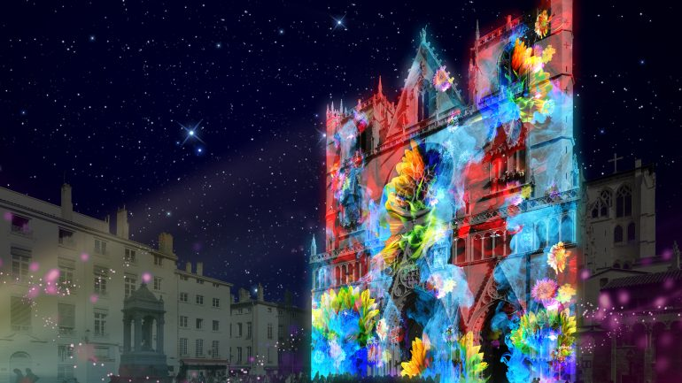 Fête des lumières 2018 – Pigments de lumière sur la cathédrale Saint-Jean (prévisualisation) © Nuno Maya & Carole Purnelle / Ocubo