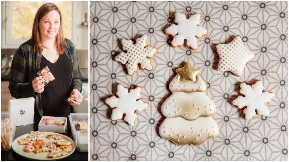 Vanessa Graci et quelques biscuits de sa marque, Hello Blush © Tim Douet (montage LC)
