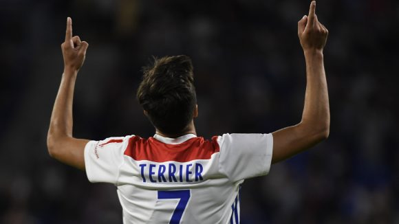 Martin Terrier, après son but en Ligue1 contre Strasbourg, le 24août 2018 © Philippe Desmazes / AFP