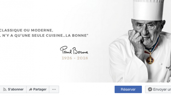 "Capture d'écran de la page Facebook ""Paul Bocuse – Le restaurant gastronomique"""