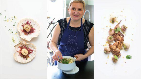 Sonia Ezgulian et deux de ses recettes pour les fêtes © Peter Lippman / Stylisme Garlone Bardel