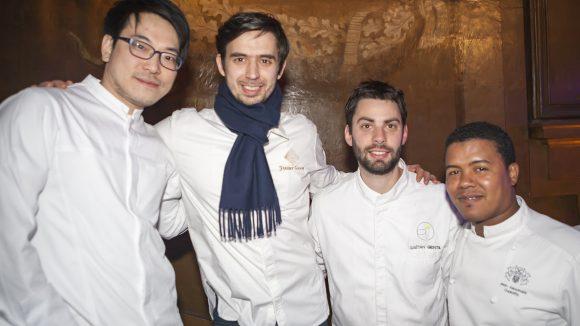 Younghoon Lee, Jérémy Galvan, Gaëtan Gentil et Alexandre Ouaratta au Dîner des grands chefs 2017 © Tim Douet