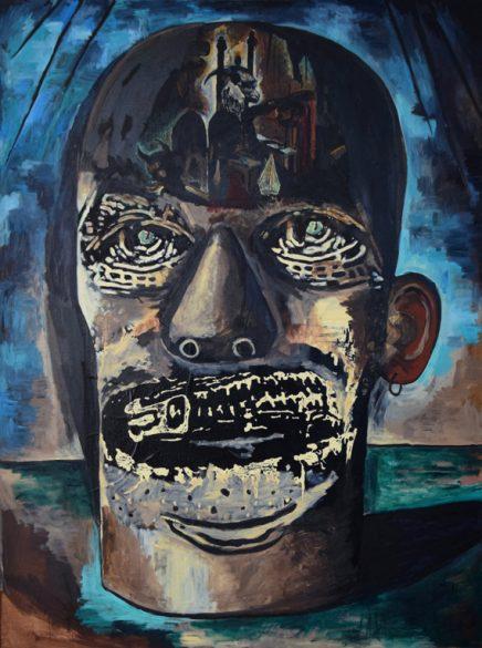 Damien Deroubaix – Painter 4 (Slayer), 2018. Huile et collage sur toile, 200x150cm – Courtesy de l'artiste et de la galerie In Situ © ADAGP, Paris 2018
