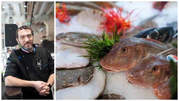 Jean-Luc Vianey et ses poissons © Claudine Sauvinet (montage LC)