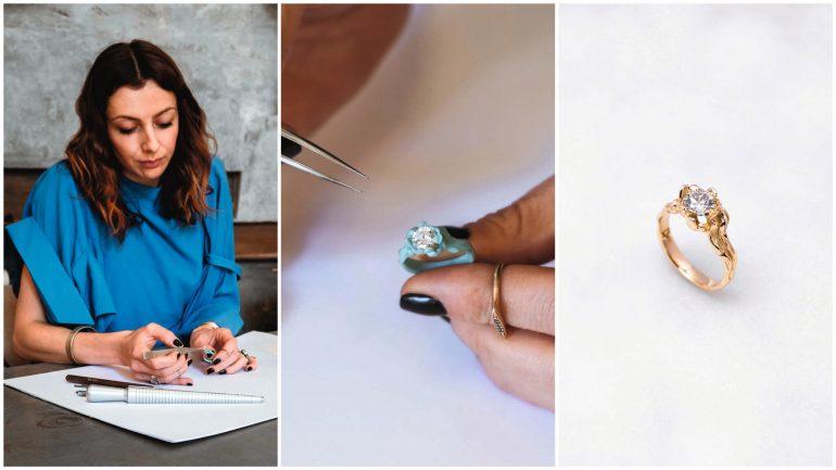 Chrystelle Desmurger travaillant sur l'une de ses créations pour sa marque, The Black Alchemy © Sacha Stork (montage LC)