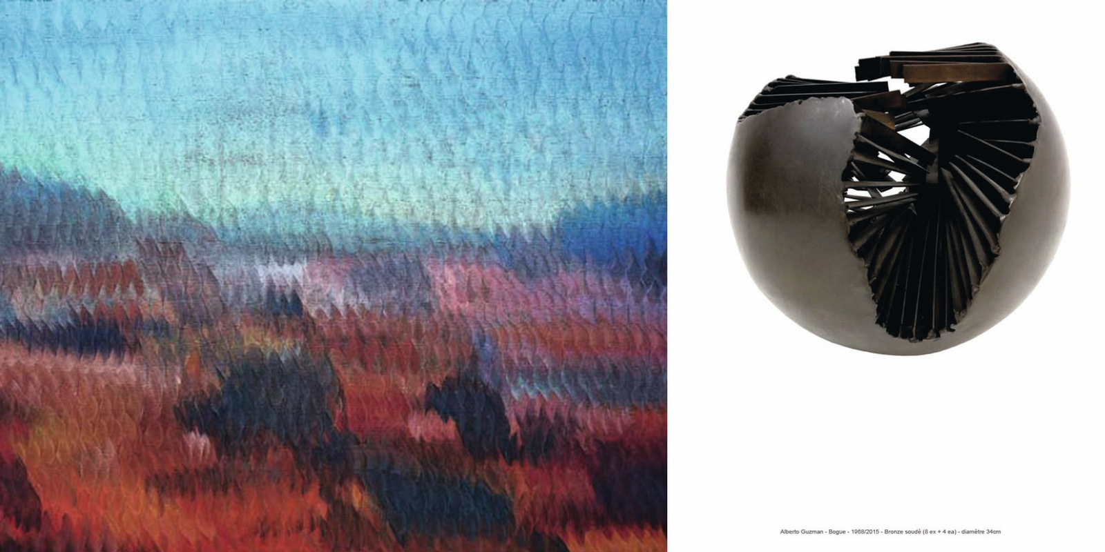Guzman Vincent, Paradise Lost (huile sur toile) / Guzman Alberto, Bogue (bronze soudé) [montage LC]