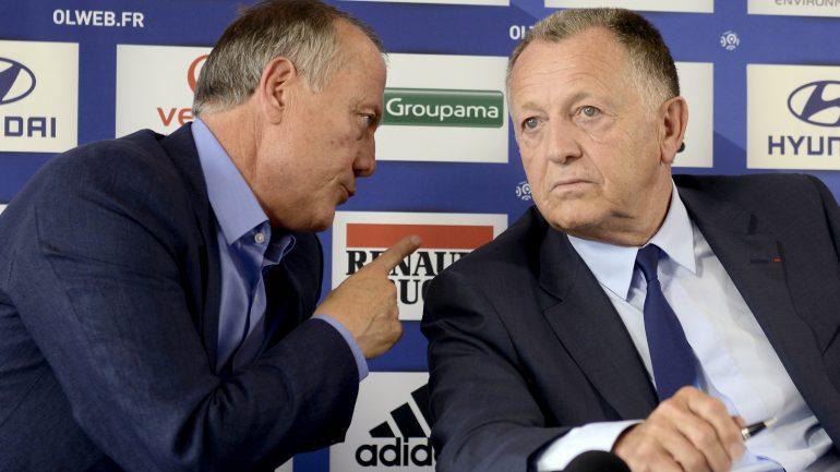 Bernard Lacombe et Jean-Michel Aulas, à l'OL, en 2013 © Philippe Desmazes / AFP