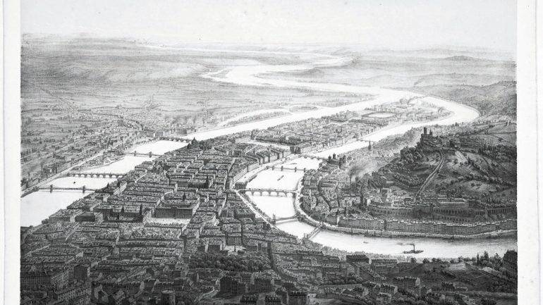 Vue aérienne de Lyon, par Guesdon, 1845 © Archives municipales de Lyon (5PH35807)
