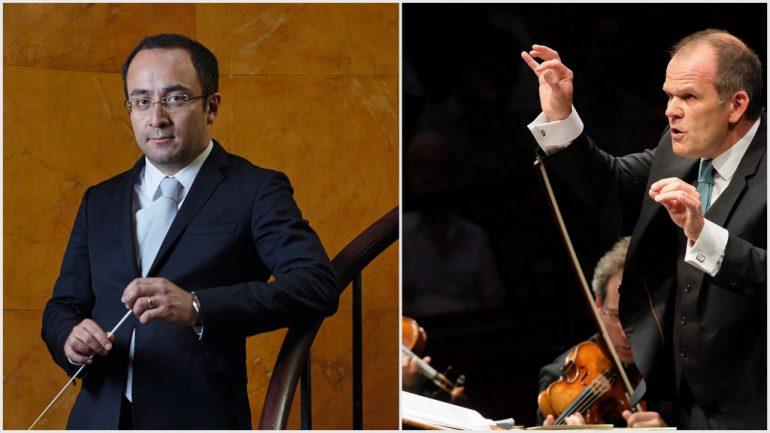 Les chefs Riccardo Minasi et François-Xavier Roth © Drew Gardner / DR (montage LC)