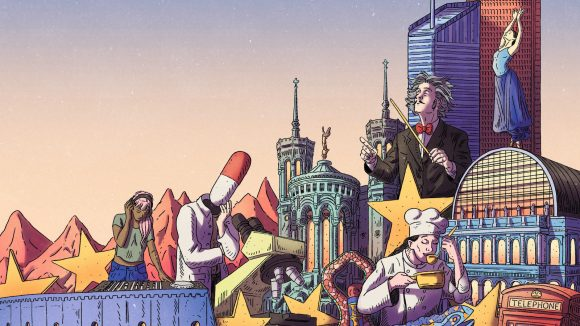 Détail d'un dessin de Kanellos Cob pour Lyon Capitale